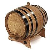 Golden Oak Barrel with Brass Hoops